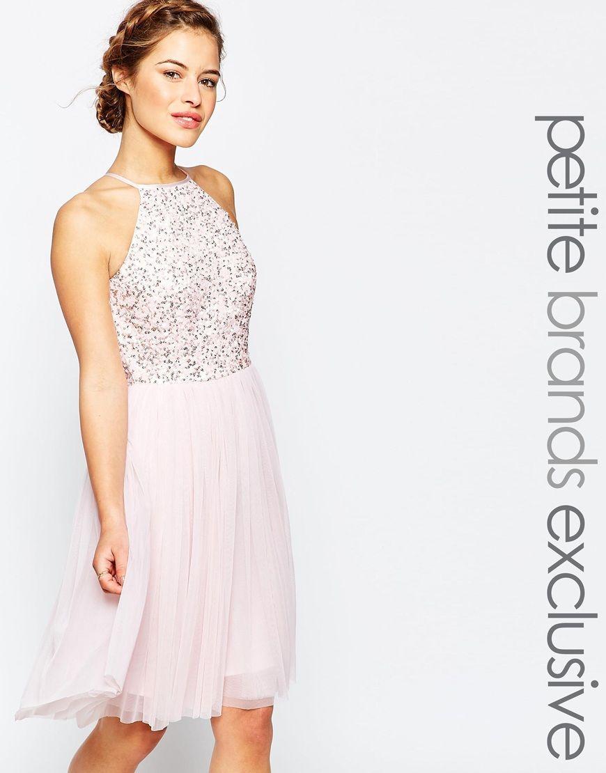 Image 1 of Maya Petite Sequin Bodice Tulle Midi Prom Dress | Ropa ...