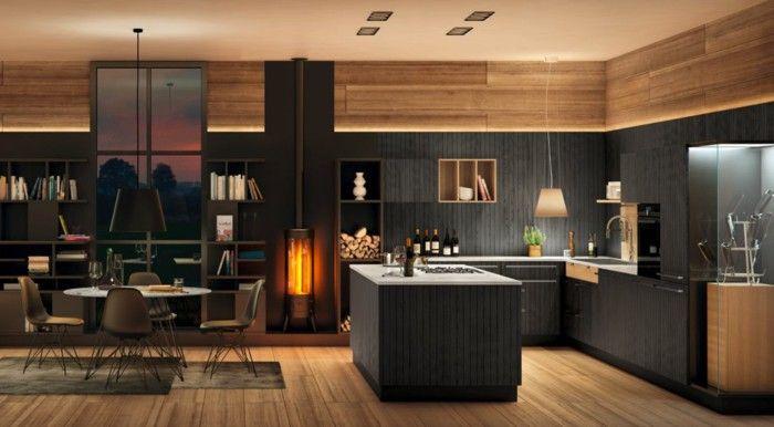 Nolte Kitchen Fireplace Cozy Modern