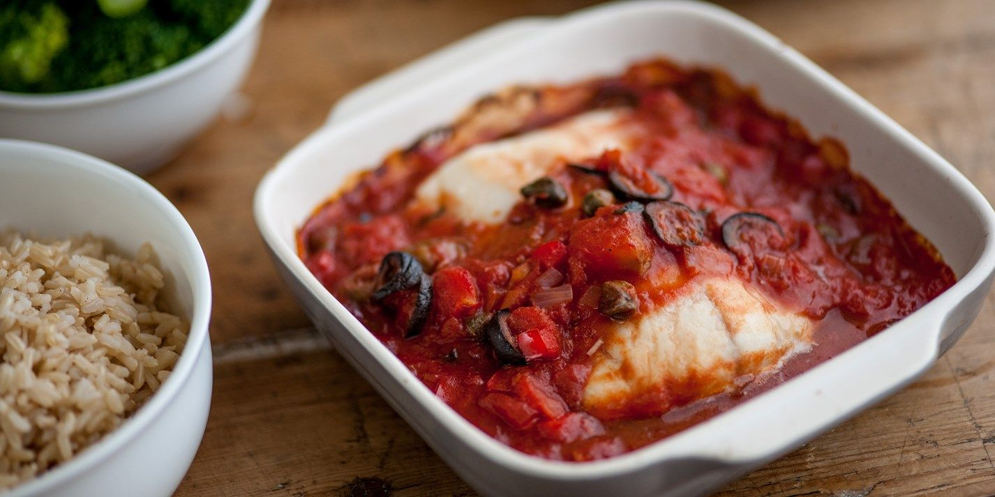 Baked Cod With Tomato Sauce Recipe Cod Recipes Baked Cod Food Recipes