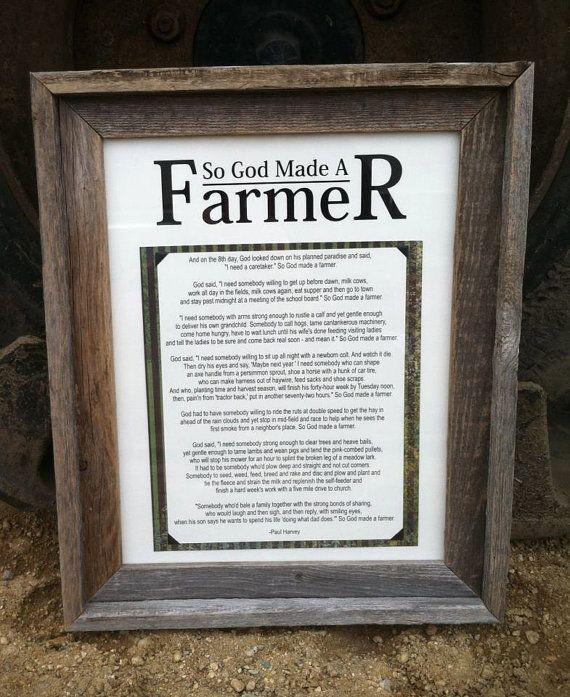 So God Made A Farmer By Paul Harvey In Barn Wood Frame Via Etsy