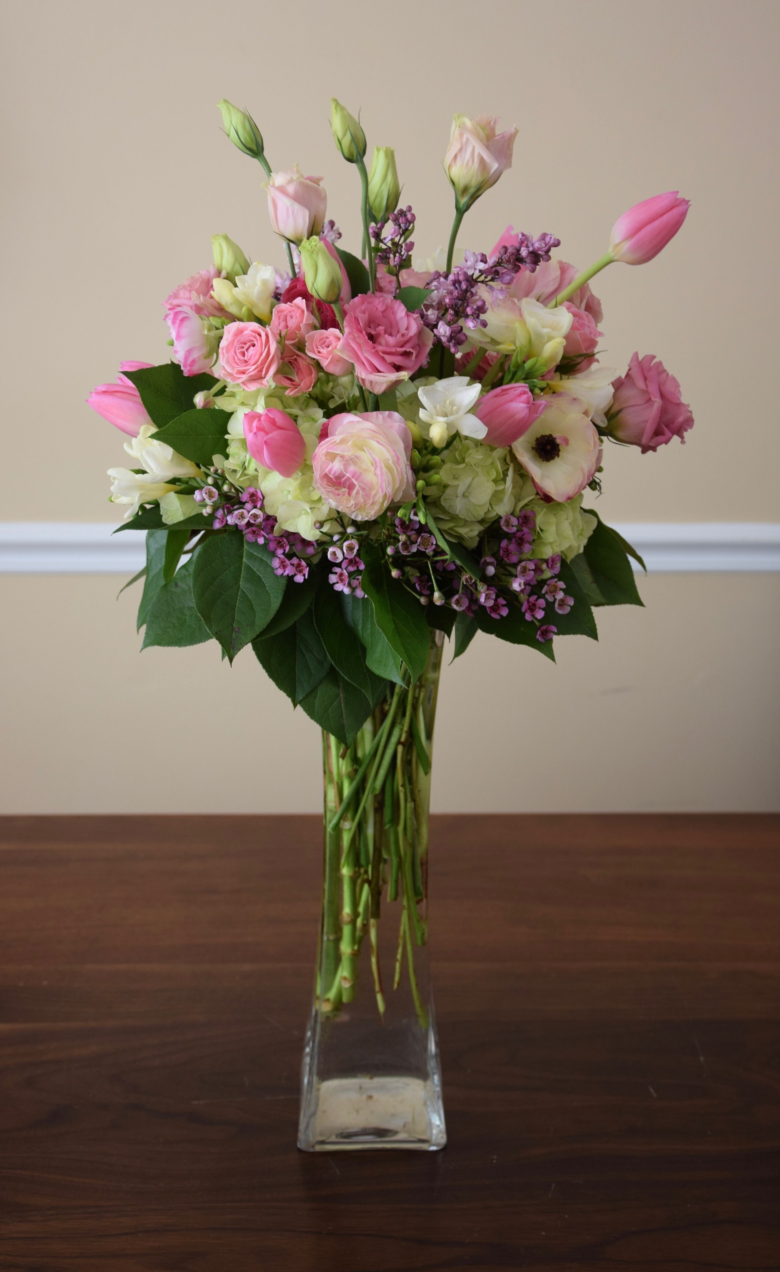 Birthday Flowers With Pink Tulips Pink Lisianthus Spray Roses Anemones Freesia Wax An Creative Flower Arrangements Flower Arrangements Floral Arrangements