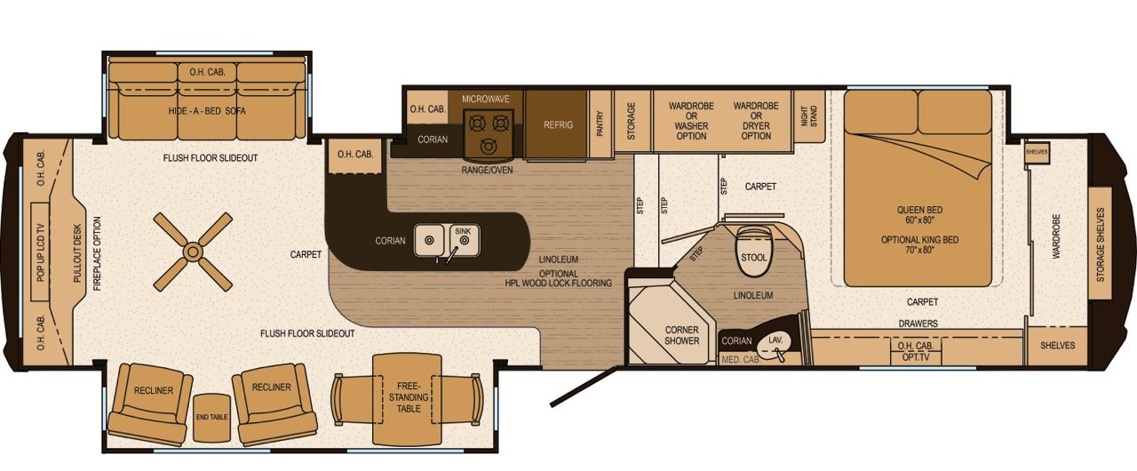 luxury rv floor plans | ls37resl floorplan with peninsula island