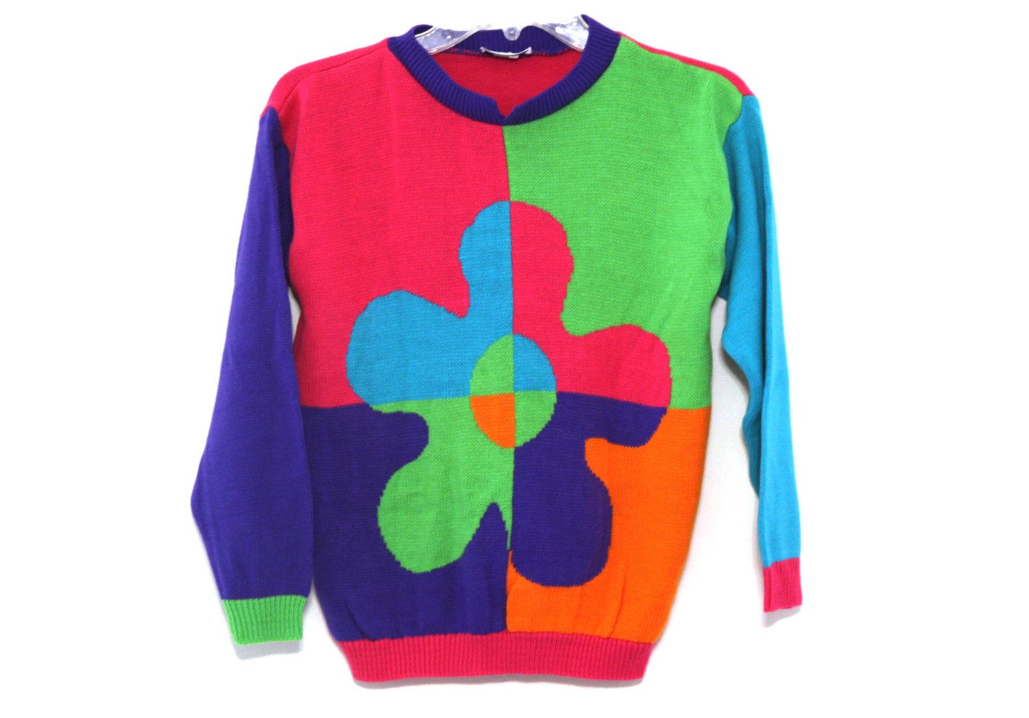 Vintage 80s sweater color block flower pink green blue by ...