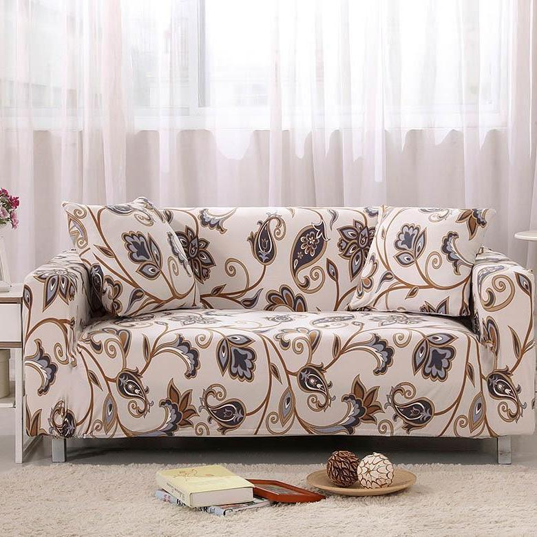 Beige Abstract Floral Pattern Sofa Couch Cover Sofa Covers