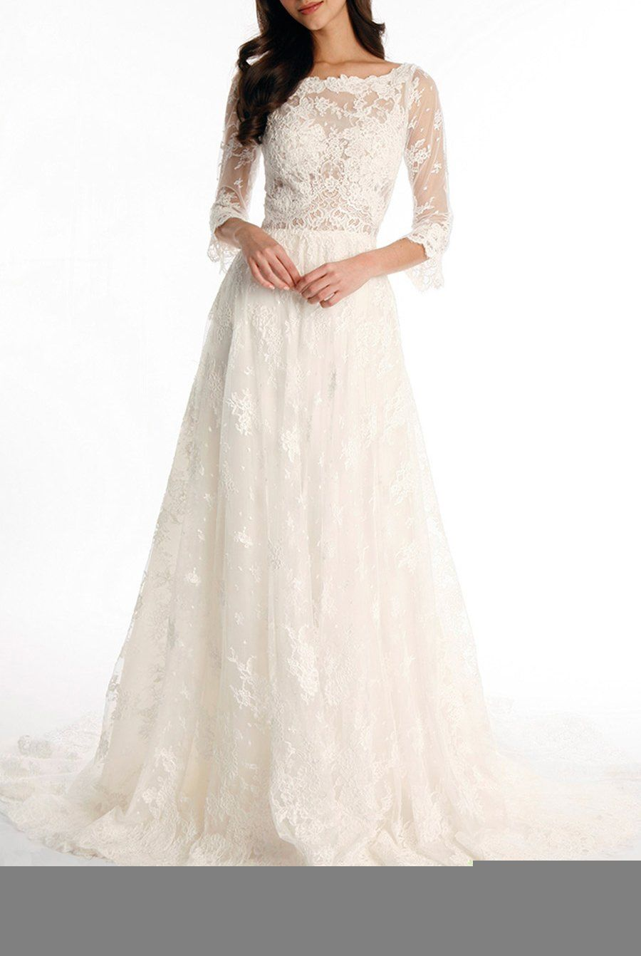 3 4 sleeve lace wedding dress  Tsbridal Lace Wedding Dress   Sleeves Bohemian Wedding