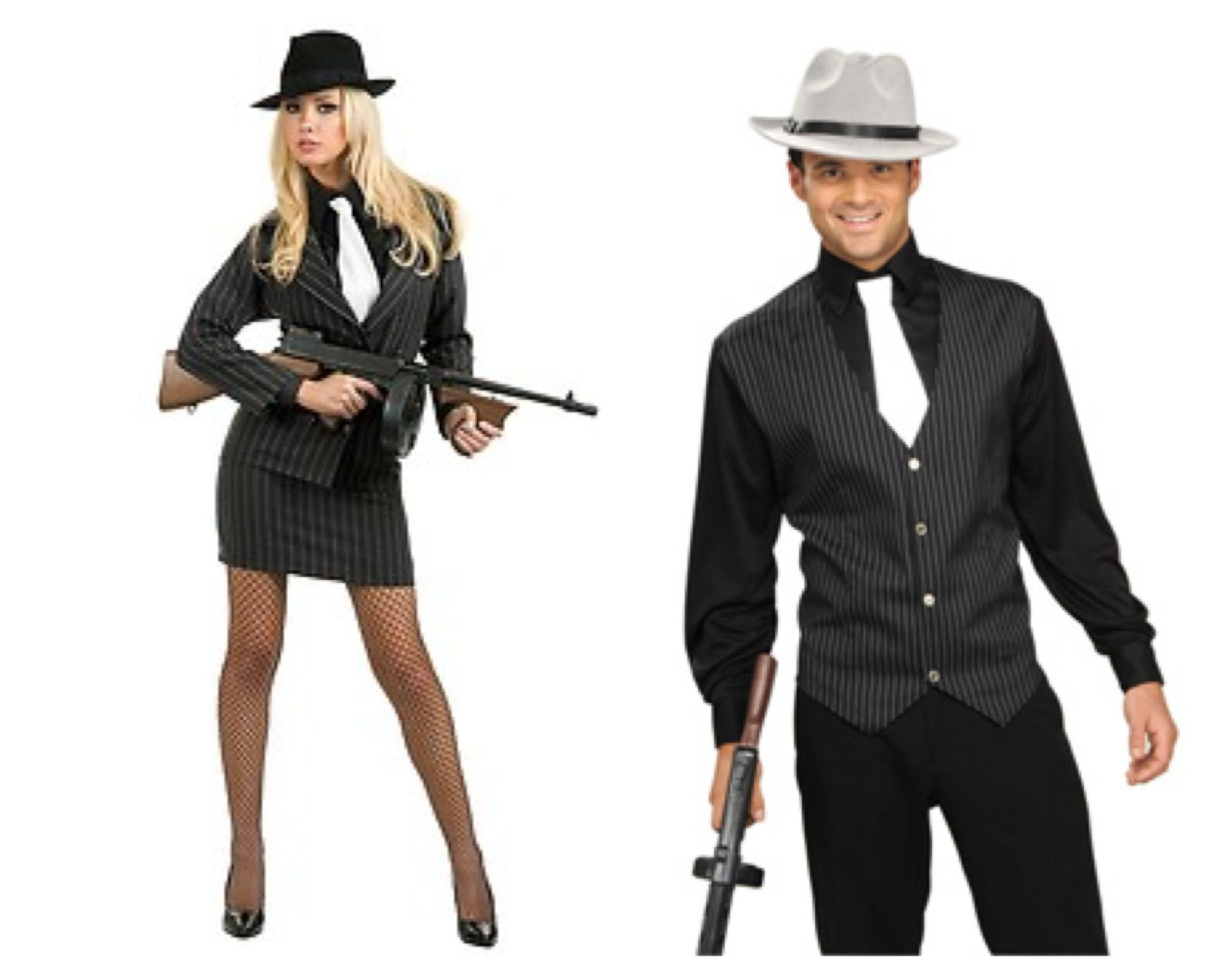 His and hers 1920s gangster costumes