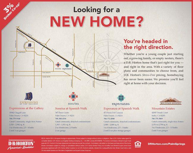 DESERT LIVING - BROKERS WELCOME  DR Horton's Spanish Walk in Palm Desert offers great living and Broker Co-Op.  http://www.drhorton.com/Where-We-Build/California/Cities/Palm-Desert/City-Map.aspx