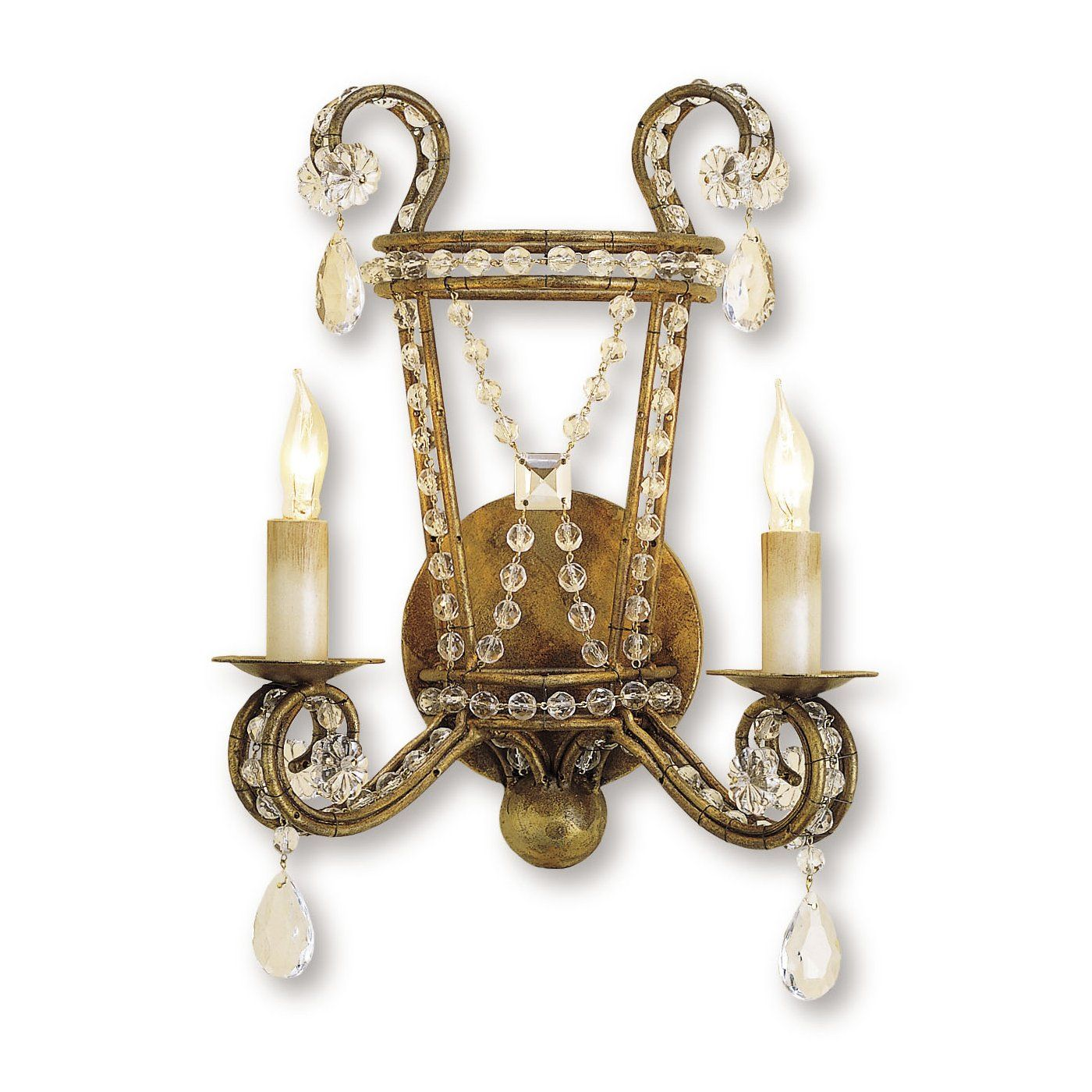 Currey & Company 5544 2 Light Serendipity Wall Sconce, Rhine Gold ...