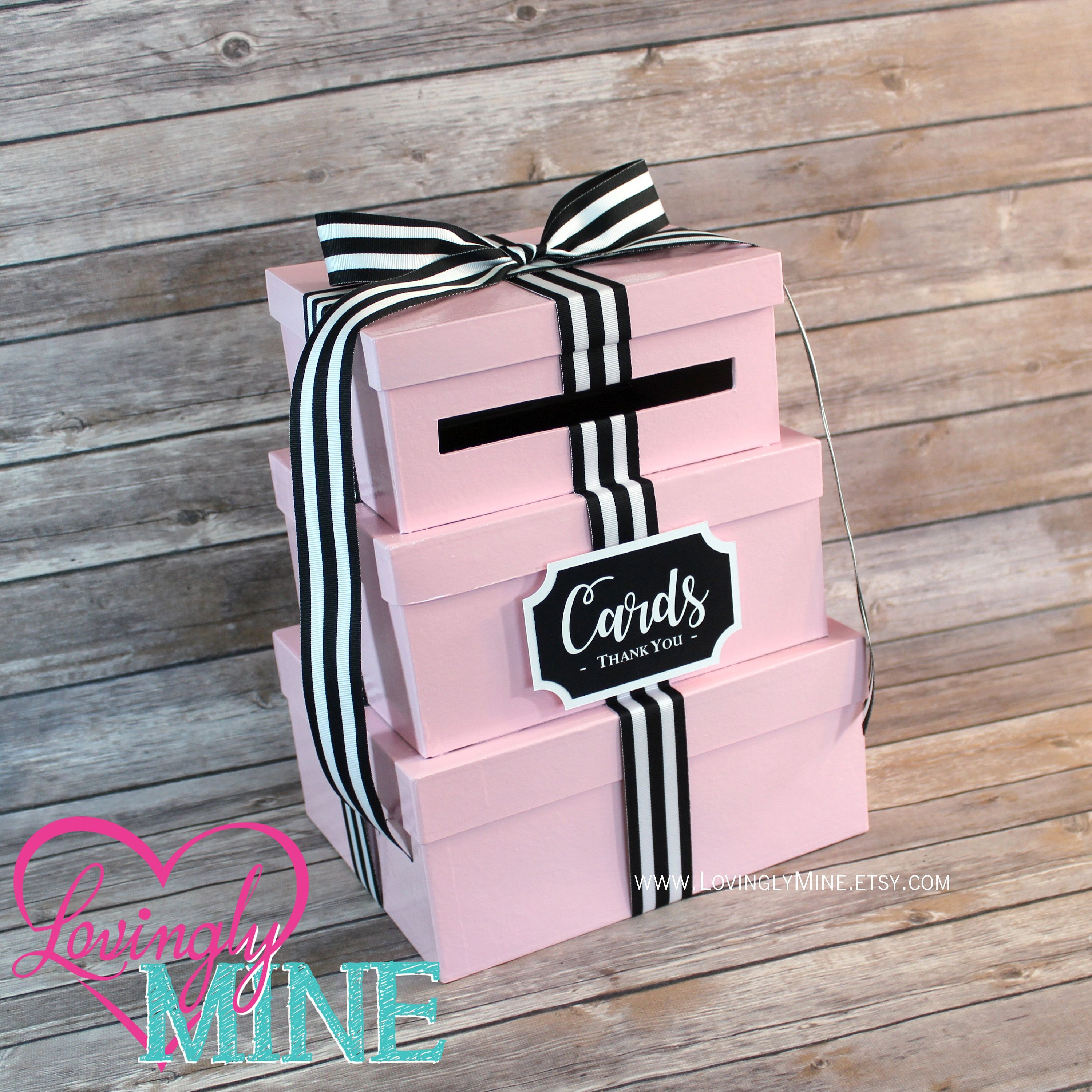 Card Holder 3 Tier Box Gift Money With Sign Baby Pink Black White Stripes Graduation Birthday Bridal Shower Sweet 16 By Lovinglymine