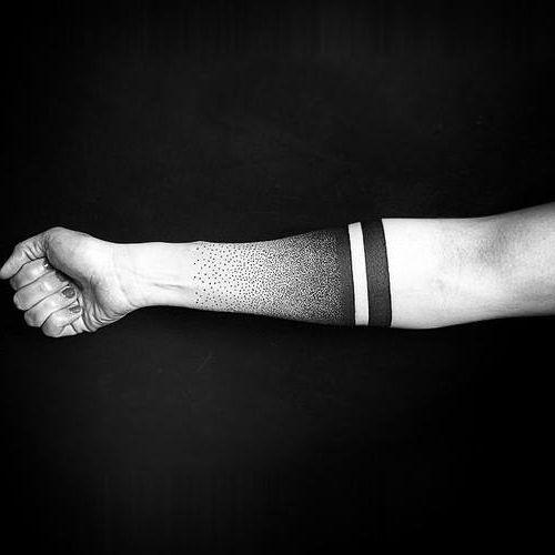 Lines And Dots Tattoo: Dots And Stripes Blackwork Tattoo Idea