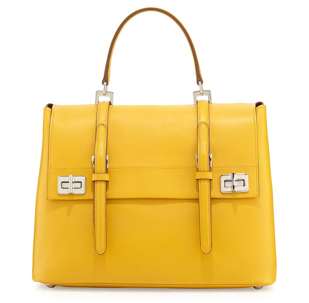 751ba4b474 ... sale prada lux calf medium flap satchel bag yellow 2014 collection  06050 9b313