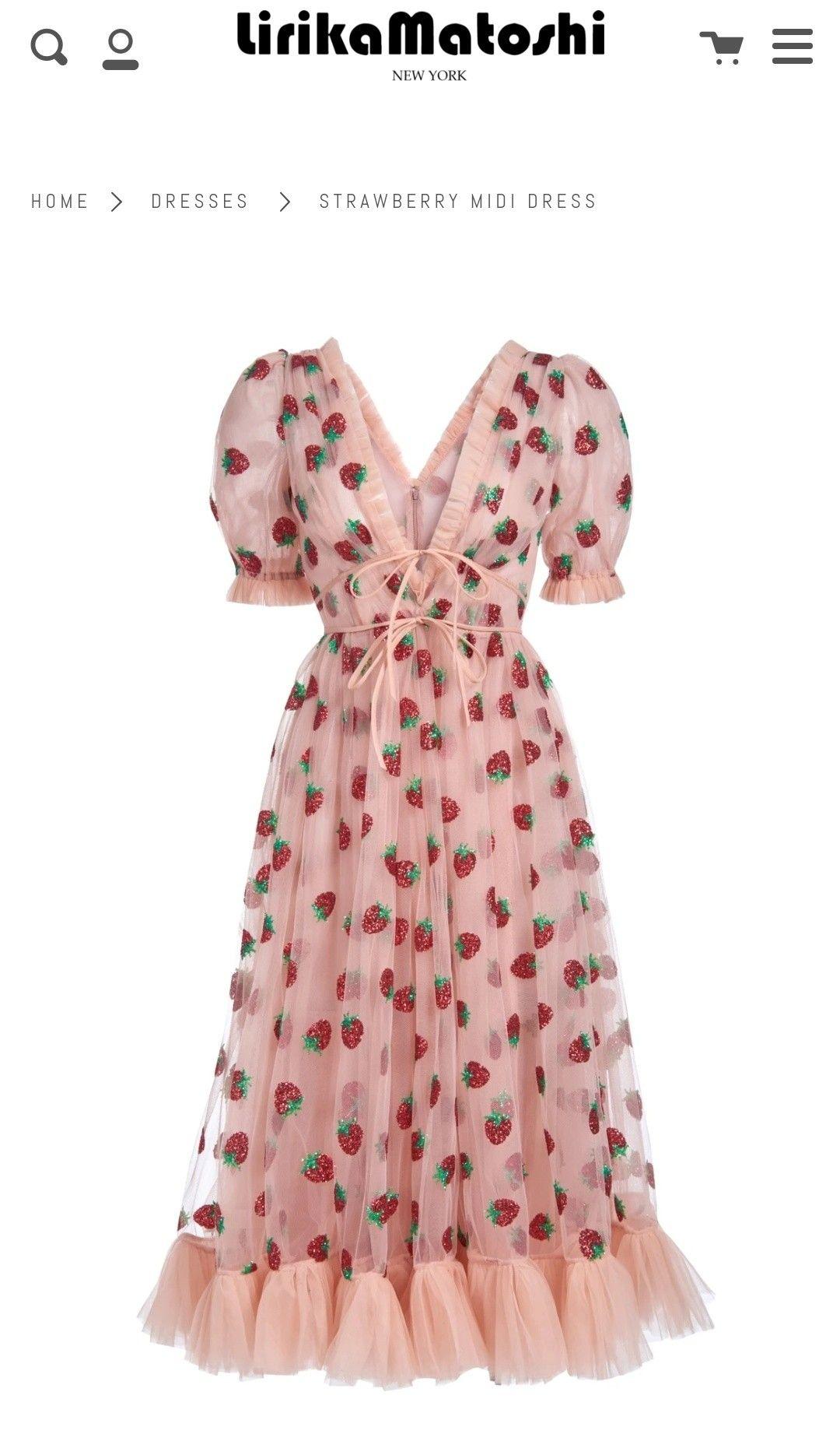 Strawberry Midi Dress In 2021 Dresses Strawberry Dress Pink Summer Dress [ 1842 x 1080 Pixel ]