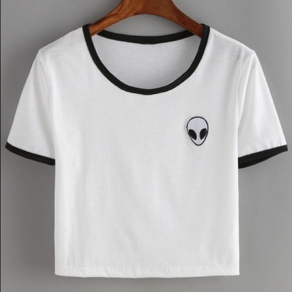 2f9b2bb6a62a9 Camiseta estampado crop -blanco. Top de alien