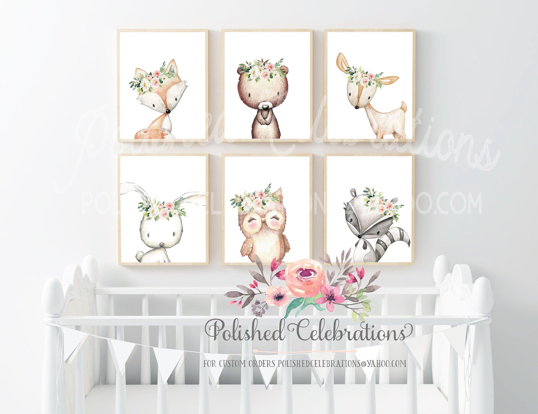 Blush Nursery Art Set Woodland Animal Prints Printable 8x10