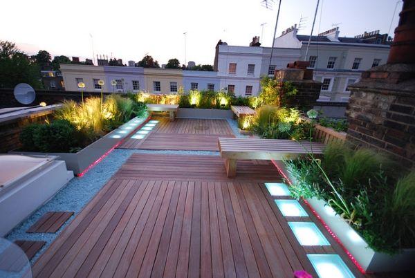 dachterrasse bodenverkleidung holz-akzentbeleuchtung-sitzbänke, Garten und erstellen