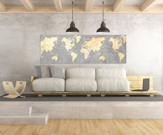 WORLD MAP Canvas Print Vintage Gray Ivory Cream Neutral ...