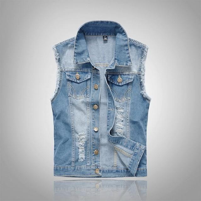 9b26960a90830 Mens Ripped Denim Vest Light Blue Fashion Personality Slim Fit Plus Size  Sleeveless Coat
