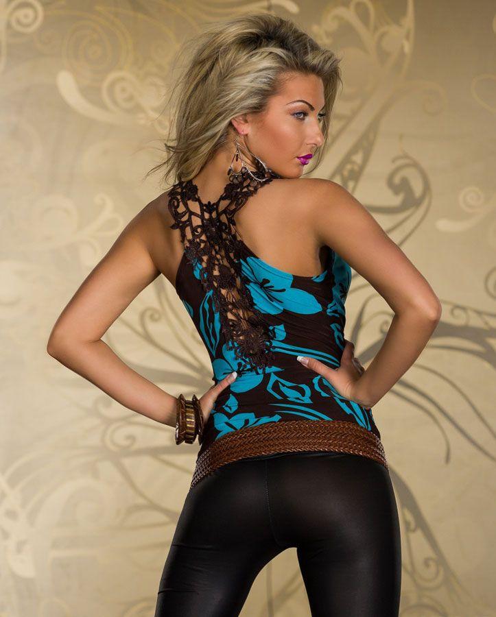 top femme marron et bleu turquoise motifs fleurs par. Black Bedroom Furniture Sets. Home Design Ideas