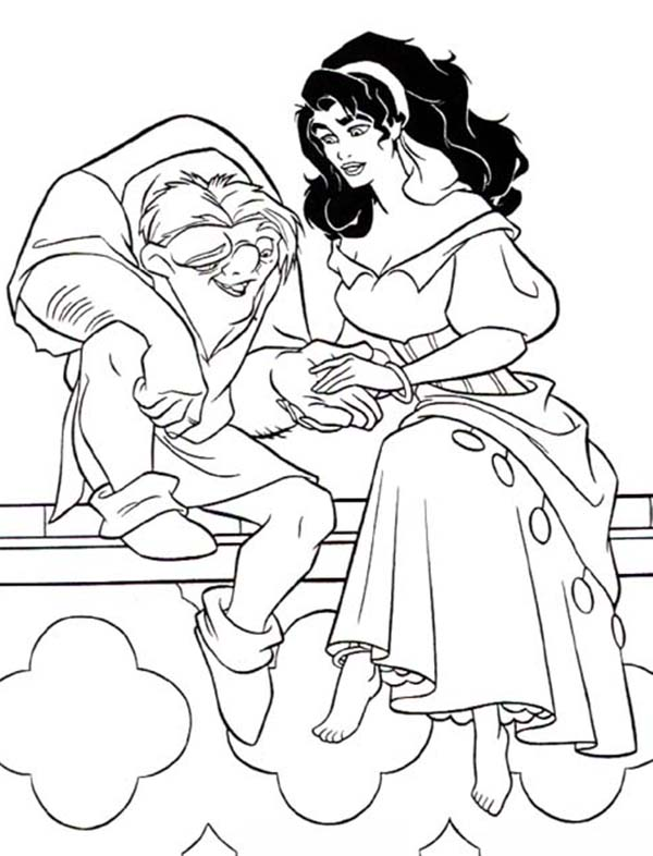 Quasimodo Holding Esmeralda Hand In The Hunchback Of Notre Dame Coloring Page Download Print Onli In 2020 Disney Coloring Pages Stitch Coloring Pages Disney Colors