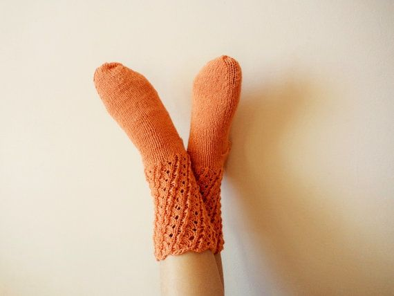 Luxurious Orange Hand Knit Socks  Wool Knit by GuestFromThePast