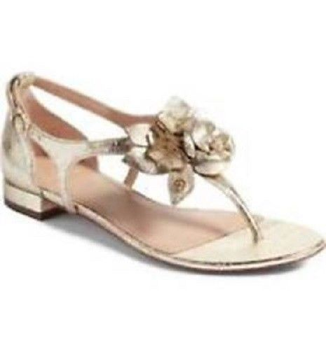 d73f45fdc33f1 Tory Burch Blossom Flat Sandals Buckle Spark Gold Women s 9 NIB ...