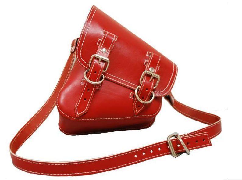 Harley davidson all softail model red leather saddle bag