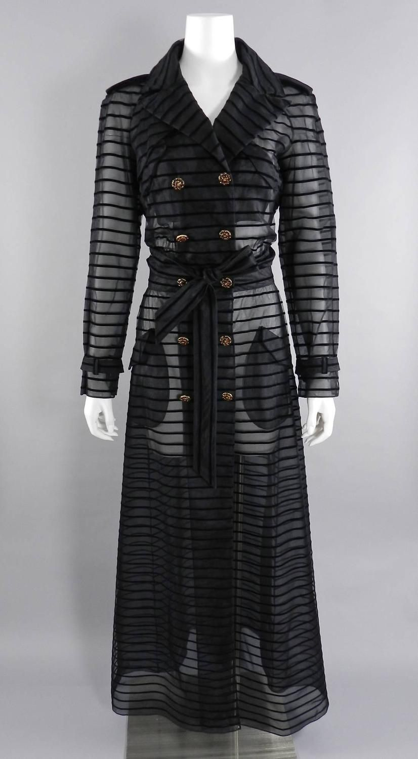Chanel 10C Long Sheer Black Striped duster Jacket with Gripoix Buttons