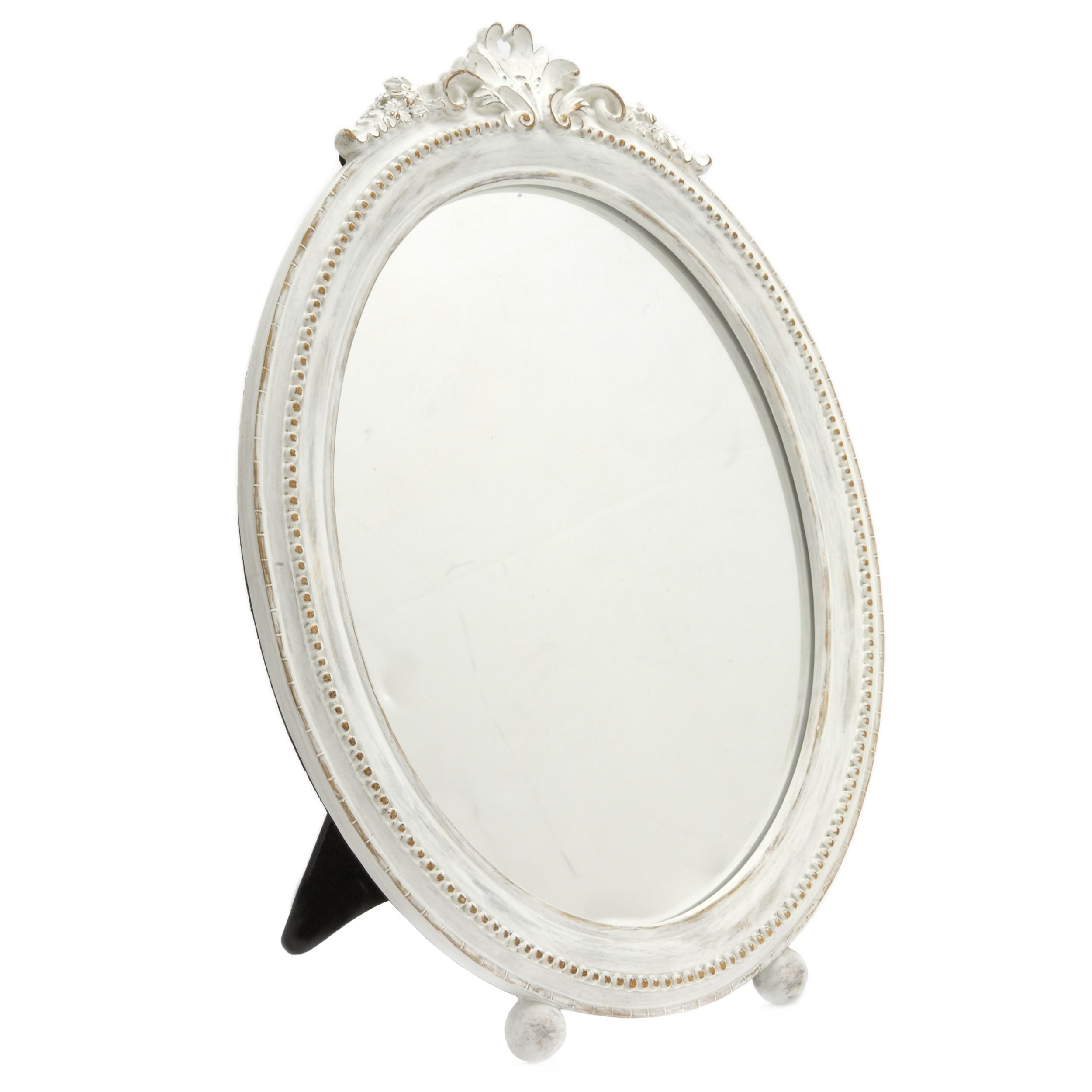 Oval Footed Vanity Dressing Table Mirror In Distressed Shabby Chic White  With Flower Flourish From Laura Ashley.