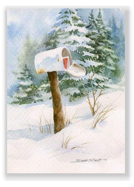 Watercolor Christmas Cards Art Winter Mailbox Watercolor