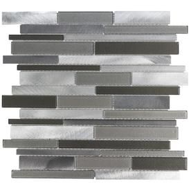 Elida Ceramica Oasis Silver Mix Linear Mosaic Gl And Metal Wall Tile Common 12