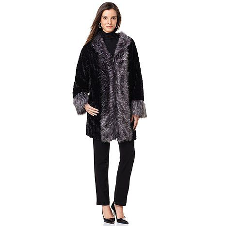 A by Adrienne Landau Iconic Kimono with Faux Fox Trim