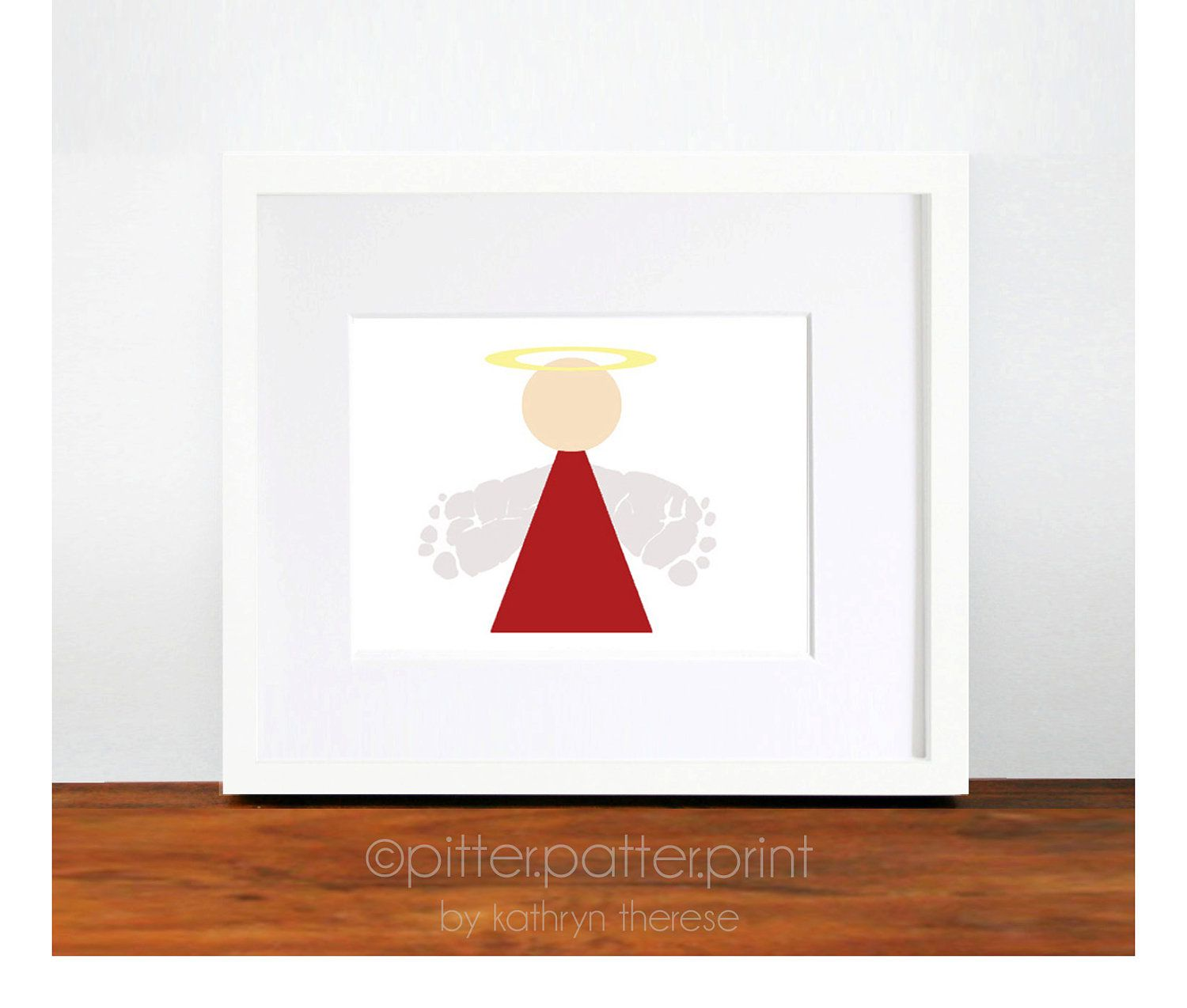 Christmas Decor - Angel Baby Footprint Art - Red ...