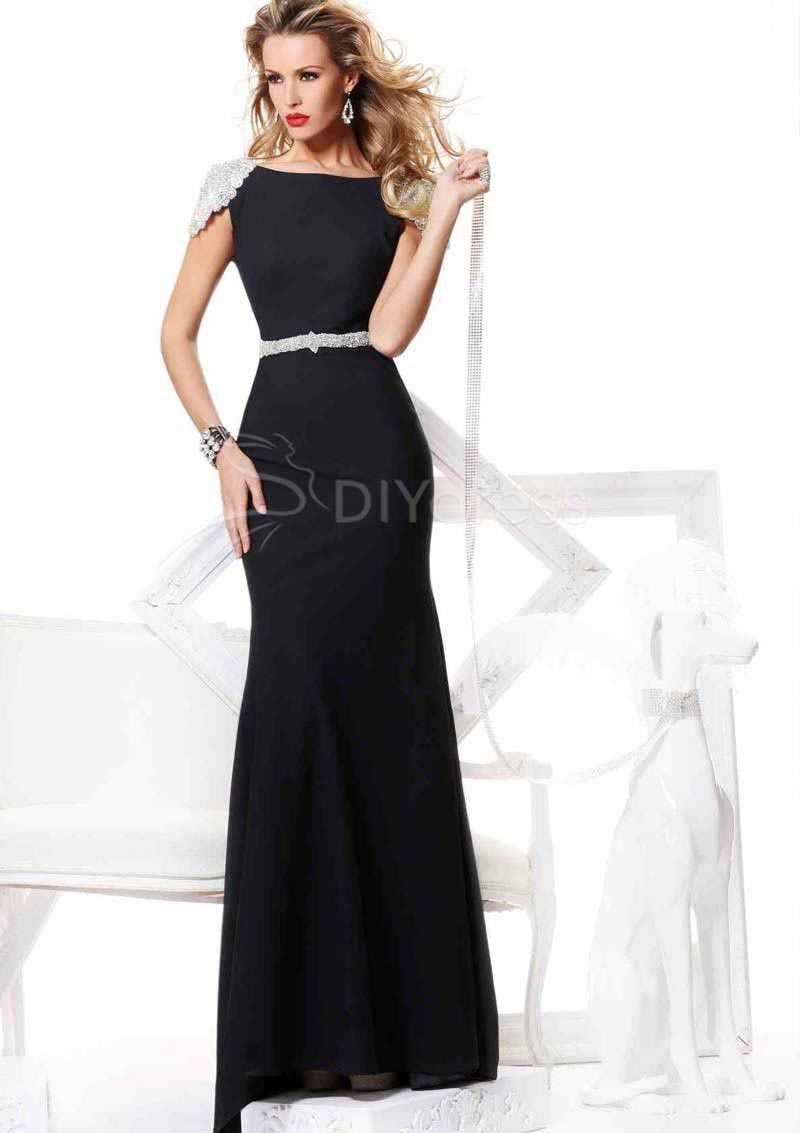 Yup dress vogue sheath bateau neck cap sleeveless beading backless