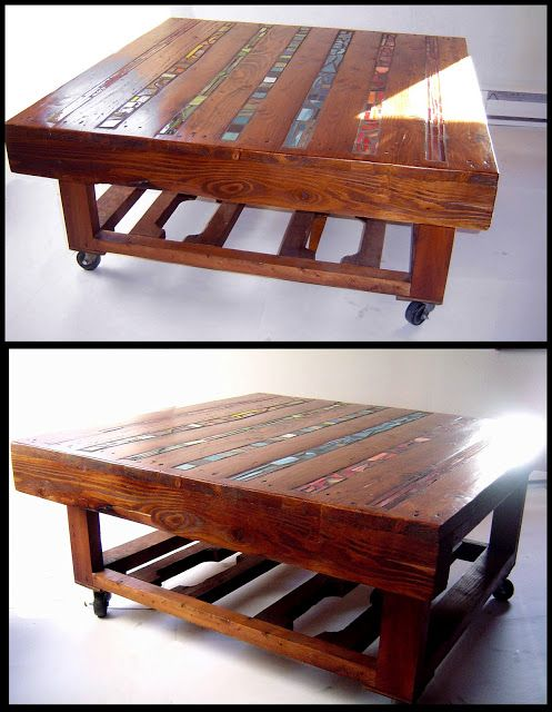 État second Pallet coffee table with mosaic glass inlay...love it!