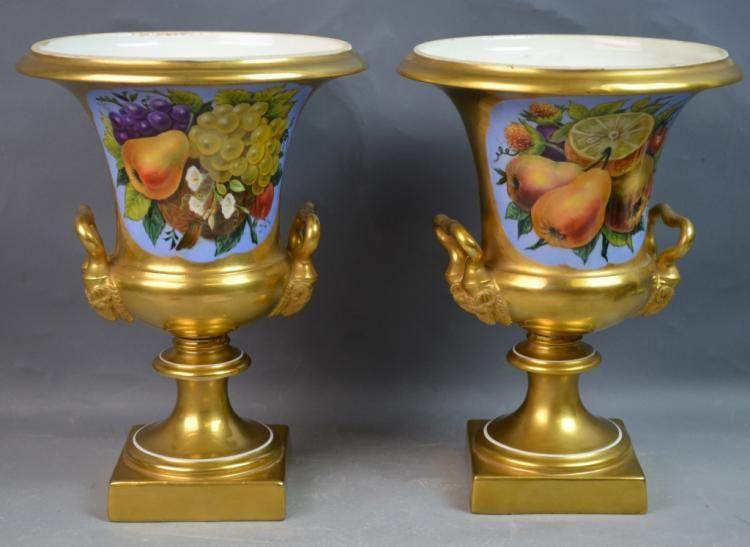 Pr Paris 19th Century Porcelain Vases W Floral Old Paris