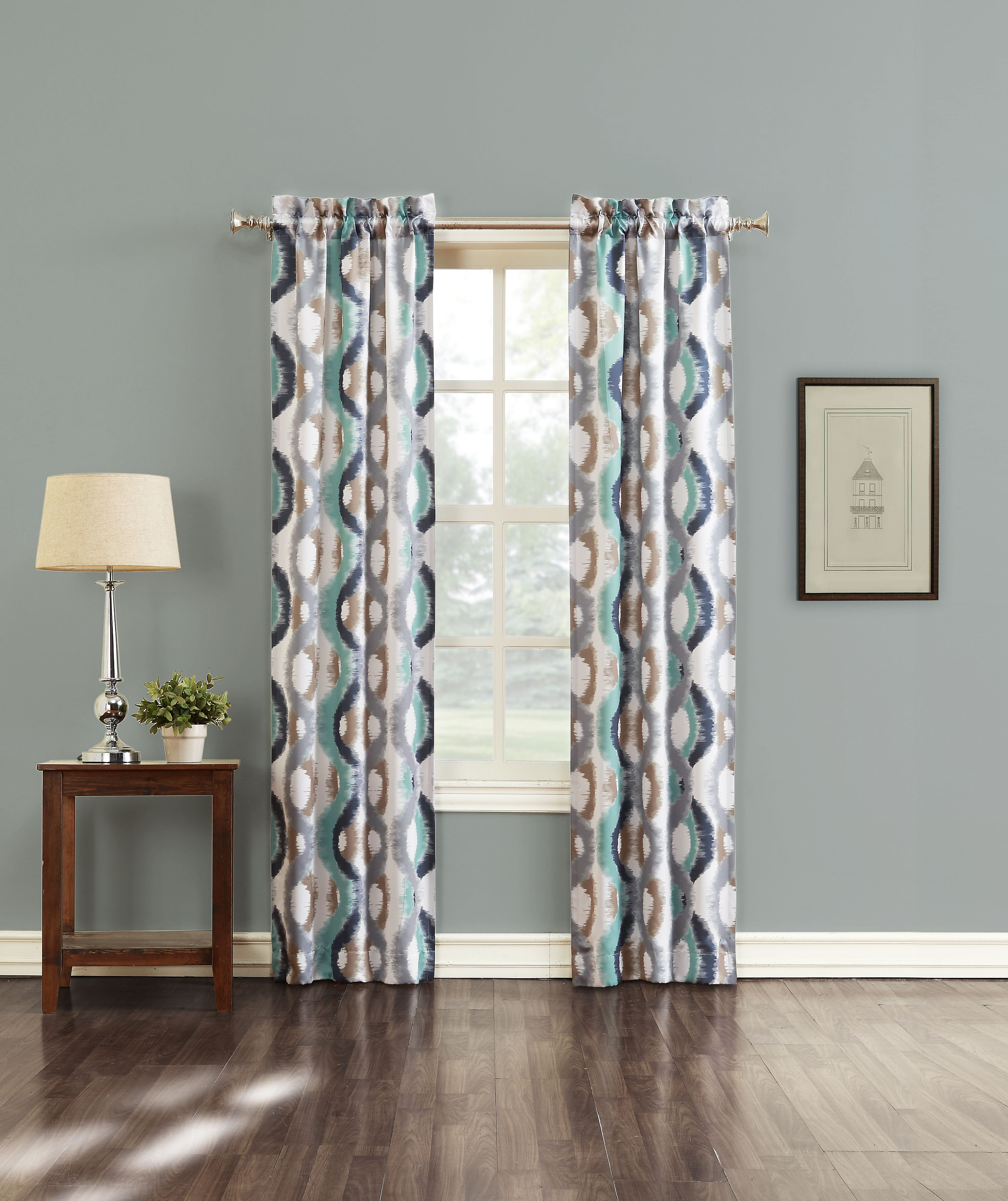 Jaclyn Smith Logan Window Panels Cortez A Geometric Print Room Darkening Panel Grommet Curtains Panel Curtains Curtains #sears #living #room #curtains