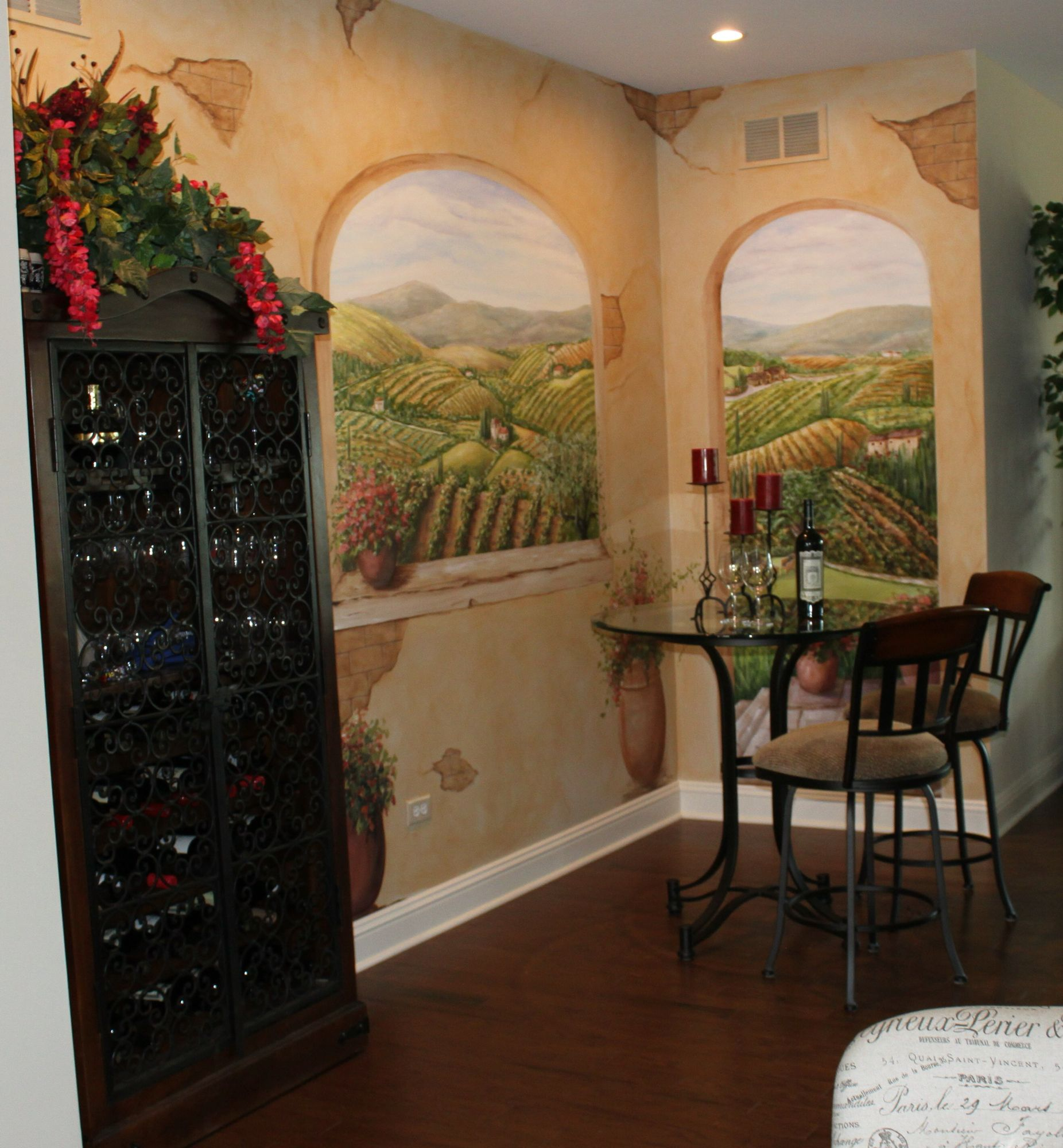 Tuscan Mural That I Painted In Wine Niche In Lovely