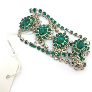 Image of Dolce & Gabbana Italian Crystal Glass Green Silver Metal Cuff Bracelet