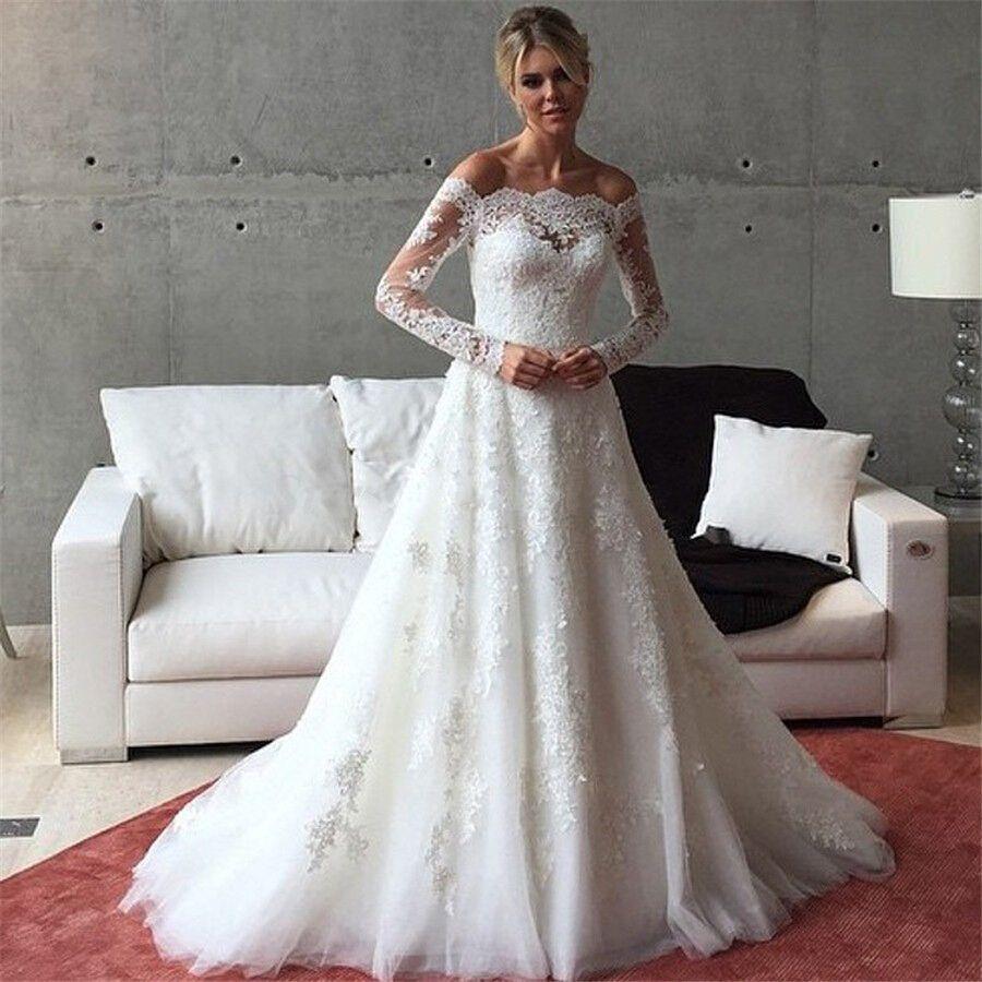 2016 spitze Langarm Hochzeit Kleid Boot ausschnitt A Linie Vintage ...