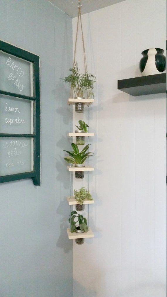 Hängender Weckglas-Pflanzer Vertical Planter Hanging Tiered #masonjarcrafts