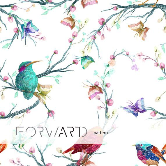 Vintage birds wallpaper, Watercolor birds wall mural, Peel