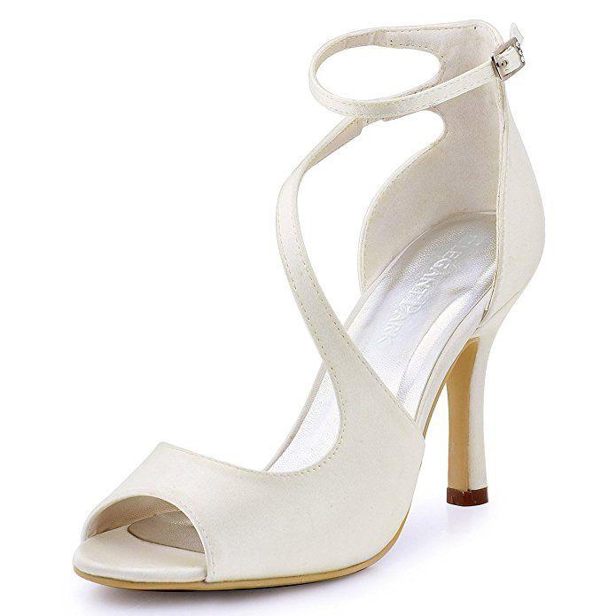 c4845d7c7614c ElegantPark HP1505 Women s Peep Toe High Heels Rhinestones Buckles Satin  Evening Party Prom Dress Sandals Silver US 5