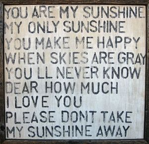 You are my sunshine... I sang this song to Jacob as a baby so much. He still let's me sing it to him once in a while :)