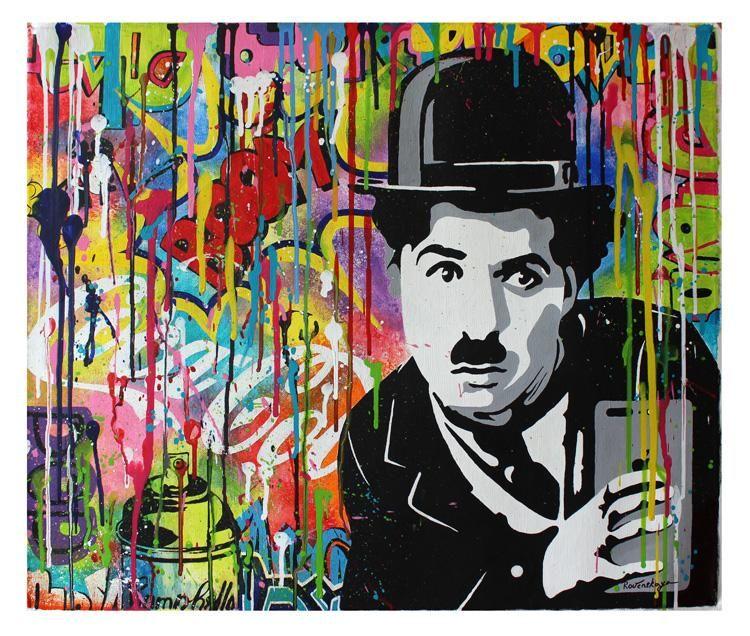 e365d7b88a4d9 Best online art gallery for graffiti street art (pop art) by the artist  Nastya Rovenskaya. Original acrylic on canvas painting Charlie Chaplin  Meets ...