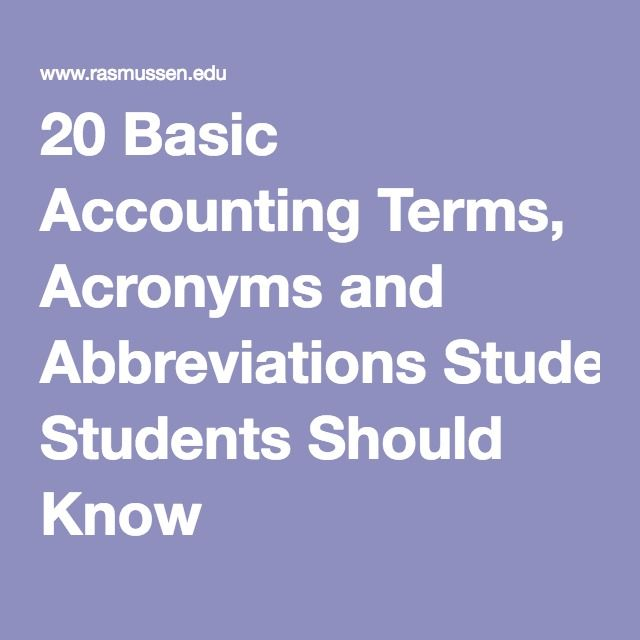 Basic Accounting Terms Acronyms And Abbreviations Students