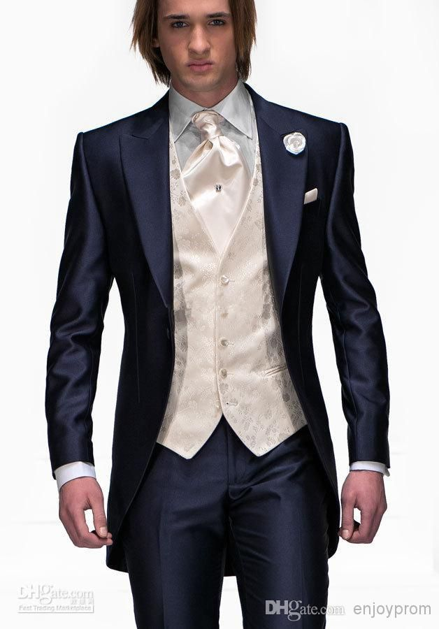 Cheap 2015 New Tailored Navy Blue Wool Satin Lapel One Button ...