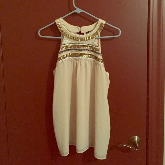 Limited Halter Top Large Beautiful beige/tan halter top with sequin neckline detail. The Limited Tops Tank Tops