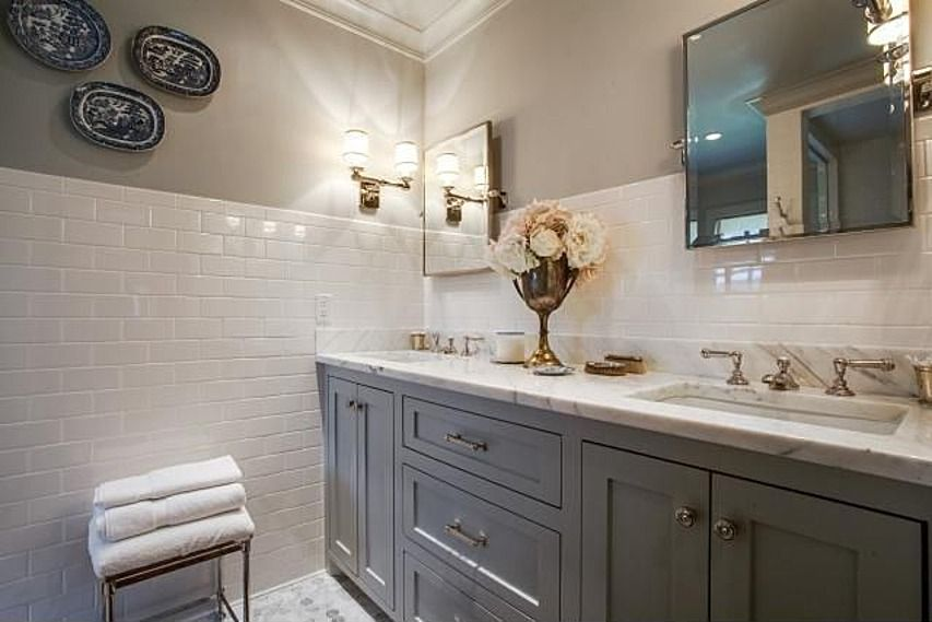 White Subway Tile 3 4 Way Up The Wall Classic Bathroom His And Hers Sinks Bathroom Inspiration