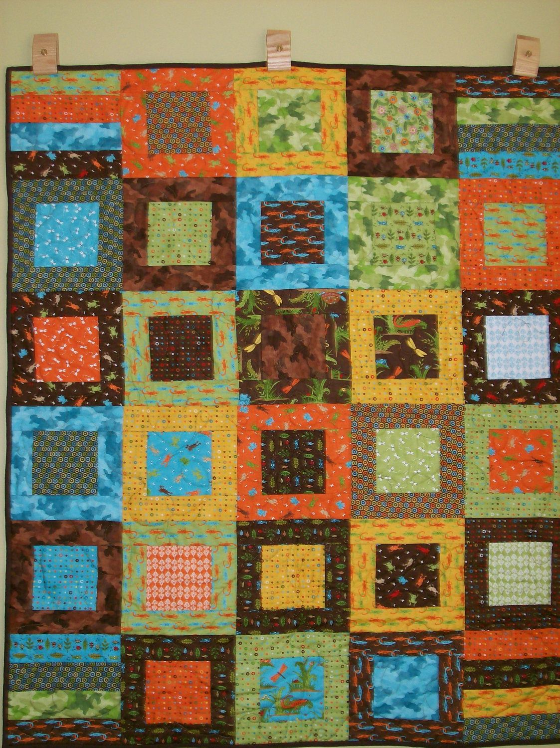 Handmade Baby Quilt for Boy Meadow Friends' Free by QuiltsByMeg ... : handmade baby boy quilts - Adamdwight.com