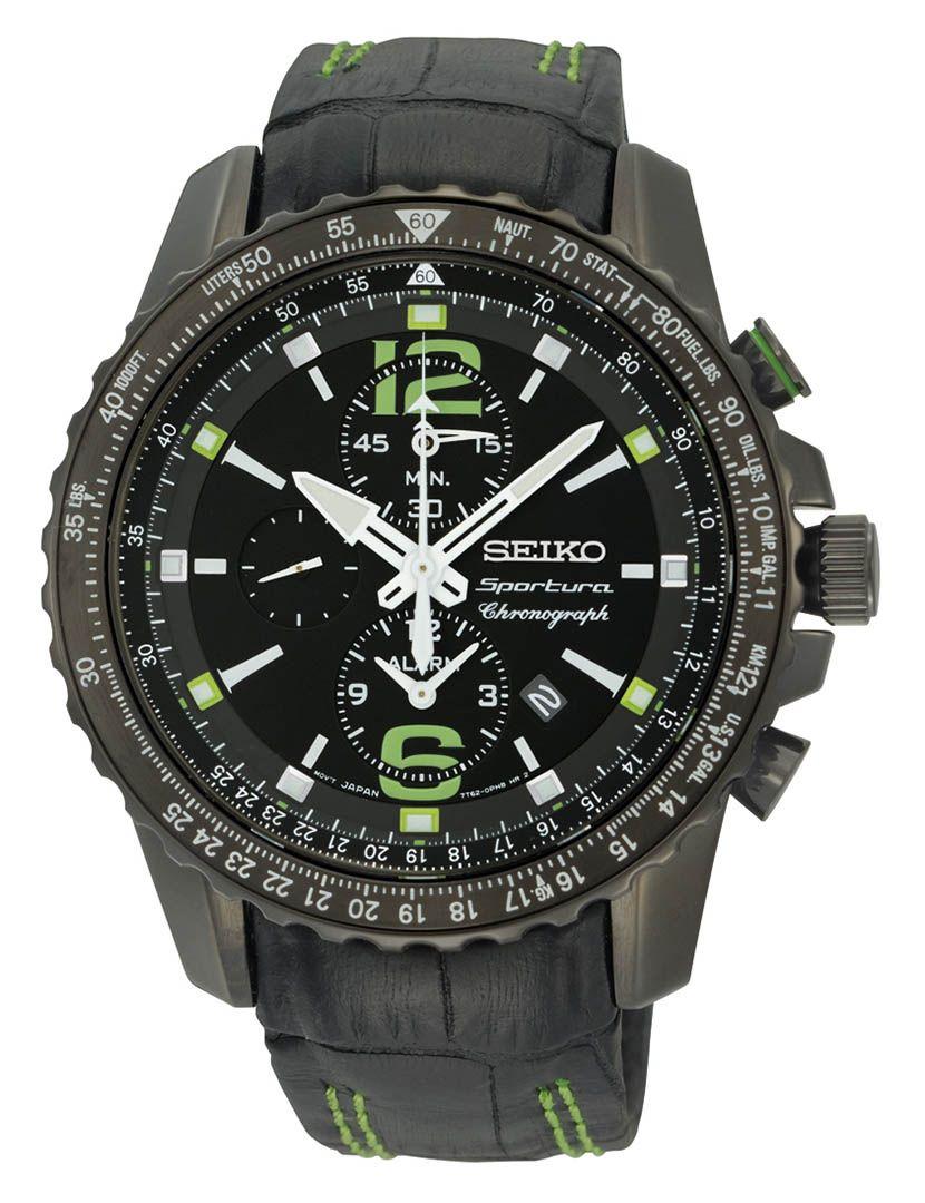 7a07a8ef020 Relógio Seiko Preto e Verde Cronógrafo SNAE97P1